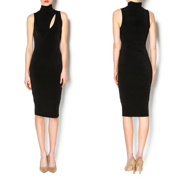 Black Bead Dresses & Skirts - Black Bead Black Slit Front Midi Bodycon Dress